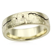 Cityscape Skyline Wedding Band