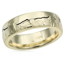 Cityscape Skyline Wedding Band - top view