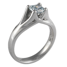 Carved Wing Engagement Ring with a Fancy Blue Diamond