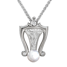 Enhancer Pendant with White Mokume and Pearl