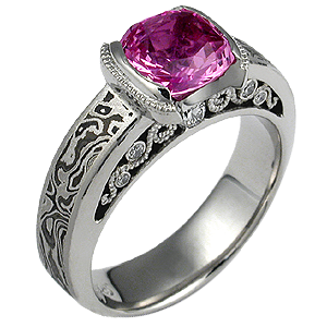 Mokume Curls Engagement Ring with Pink Sapphire