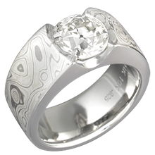 Mokume Flush Stone Solitaire with Winter Mokume