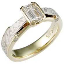 Mokume Bridge Engagement Ring in Yellow Gold