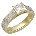 Mokume Cathedral Engagement Ring with Princess Cut Diamond