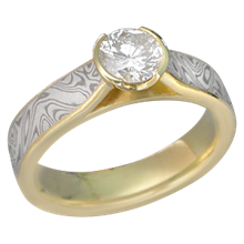 Yellow Gold Mokume Cathedral Engagement Ring