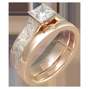 Rose Gold Engagement Ring and Wedding Band with Mokume