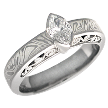 Mokume Curls Engagement Ring with a Marquise Cut Diamond