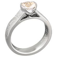 Mokume Cathedral Ring with a Champagne Diamond