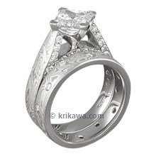 Mokume Cathedral Engagement Ring with Accent Diamonds Bridal Set