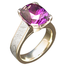 Mokume Cathedral Engagement Ring with Amethyst