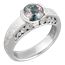 Mokume Curls Engagement Ring with Bicolor Sapphire