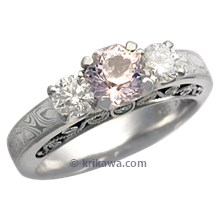 Mokume Curls Engagement Ring with Pink Sapphire and White Diamonds
