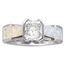 Mokume Bridge Engagement Ring with Summer Mokume