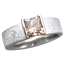 Mokume Solitaire Princess Engagement Ring with Champagne Diamond