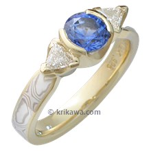 Mokume Three Stone Ring with Blue Sapphire in a Yellow Gold Setting
