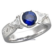 Mokume Three Stone Engagement Ring with a Blue Sapphire