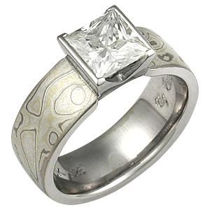 Princess Cut Diamond in Mokume Engagement Ring
