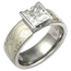 Mokume Solitaire Princess Engagement Ring with Winter Mokume