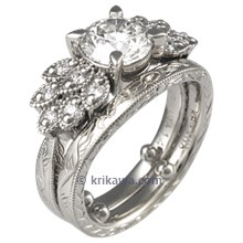 Antique Style Leaf Pave Engagement Ring with Wedding Band