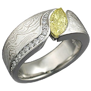 Mokume Wave Engagement Ring with Yellow Marquise Diamond