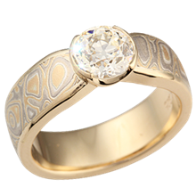 Summer Mokume Solitaire Tapered Engagement Ring