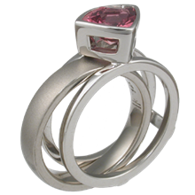Modern Scaffold Engagement Ring with Rose Sapphire
