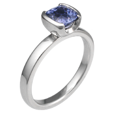 Modern Solitaire Engagement Ring with Cushion Blue Sapphire