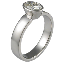 Modern Straight Tapered Head Engagement Ring with Oval Bezel