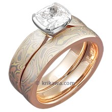 Mokume Solitaire Tapered Engagement Ring with Cushion Cut Diamond and Mokume Band