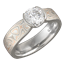 Mokume Solitaire Tapered Engagement Ring with Champagne Mokume