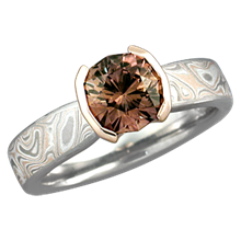 Mokume Solitaire Tapered Engagement Ring with a Cognac Sapphire