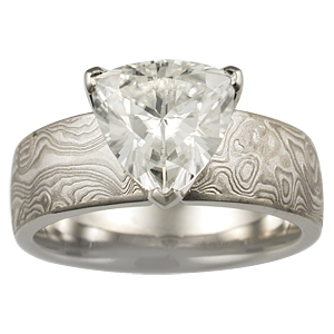 Trilliant Diamond in Mokume Engagement Ring