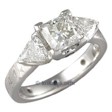 Mokume Three Stone Engagement Ring with Princess and Trilliant Cut Diamonds
