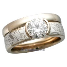 Mokume Solitaire Straight, Tapered Head in White Gold