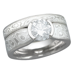 White Mokume Bridal Set