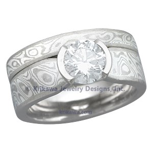 Custom Made Mokume Gane Bridal Set
