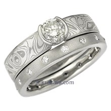 Mokume Solitaire Engagement Ring and Diamond Wedding Band