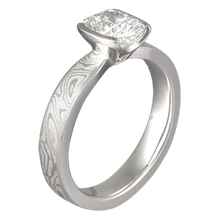 Mokume Solitaire Tapered with Cushion Cut Diamond