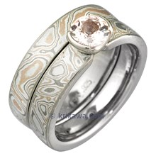 Mokume Solitaire Straight Tapered Engagement Ring and Champagne Mokume Band
