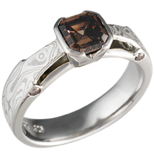 Mokume Bridge Engagement Ring with Cognac Diamond