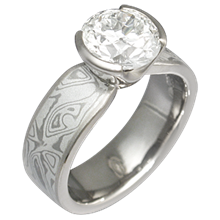 Mokume Solitaire Tapered Engagement Ring with White Mokume