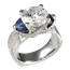 Mokume Ribbon Three Stone Luxury Engagement Ring with Blue Sapphire Half Moons