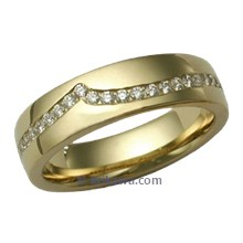 Diamond Wave Straight Wedding Band in Yellow Gold