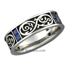Renaissance Eternity Wedding Band with Blue Sapphires