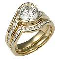 Carved Wave Engagement Ring in Yellow Gold