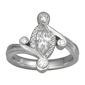 Marquise Pave Engagement Ring with White Diamond
