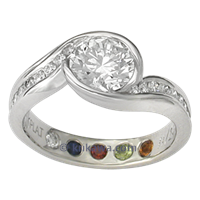 artistic engagement ring carved wave birthstones
