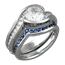 Carved Wave Engagement Ring with Blue Sapphire Contoured Wedding Band