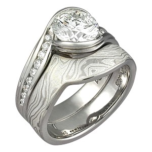 Carved Wave Artistic Engagement Ring