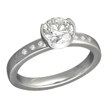 Modern Solitaire Engagement Ring with Accent Diamonds